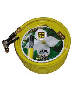 """""""Gele slang 3/4""""""""25m, getricoteerd high twist resistant system met koperen koppelingen"""""""