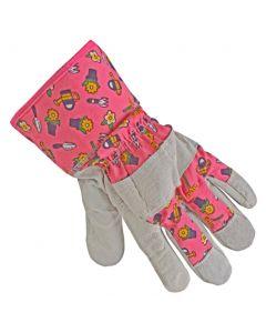 Werkhandschoenen leer gebloemd