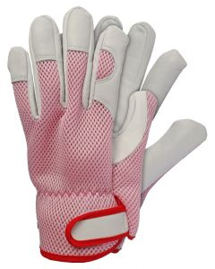 Werkhandschoenen maat s geitenleer roze